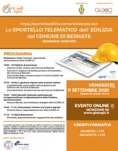 """Comune di Besnate """"Lo sportello telematico dell'edilizia"""" @ Webinar sincrono"""