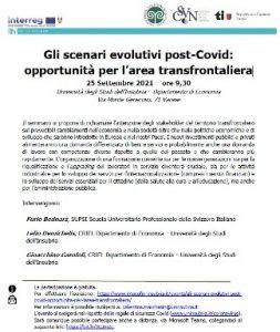 Gli scenari evolutivi post-Covid: opportunità per l'area transfrontaliera @ Università degli Studi dell'Insubria